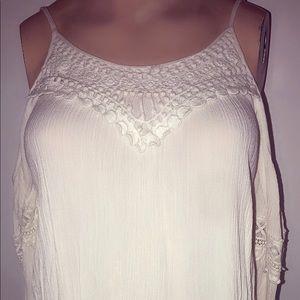 Women's  Cream Colored Cold Shoulder Blouse